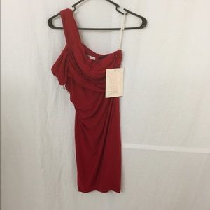 Boston Proper Stunning Red One Shoulder Dress SZ 0